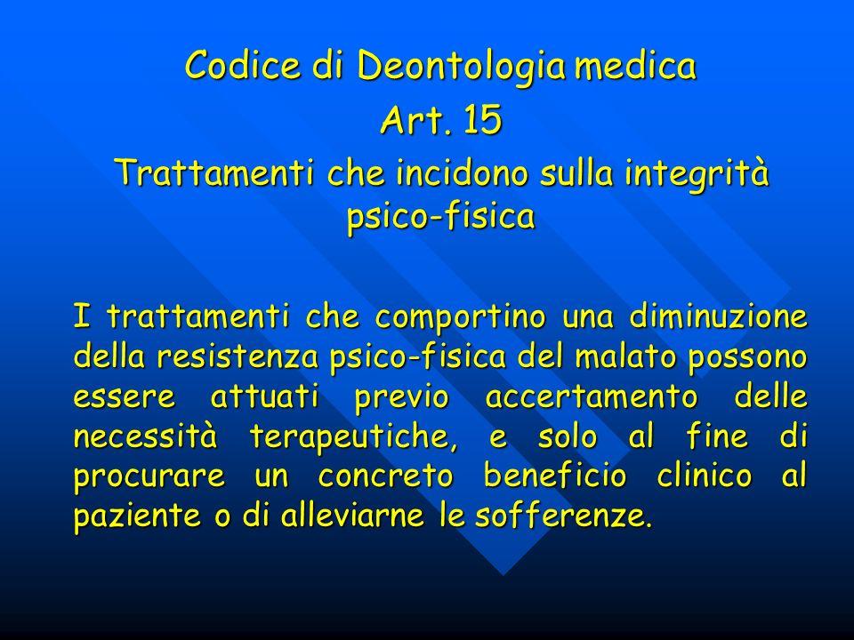 Codice di Deontologia medica Art. 15 Trattamenti che incidono sulla integrità psico-fisica I trattamenti che comportino una diminuzione della resisten