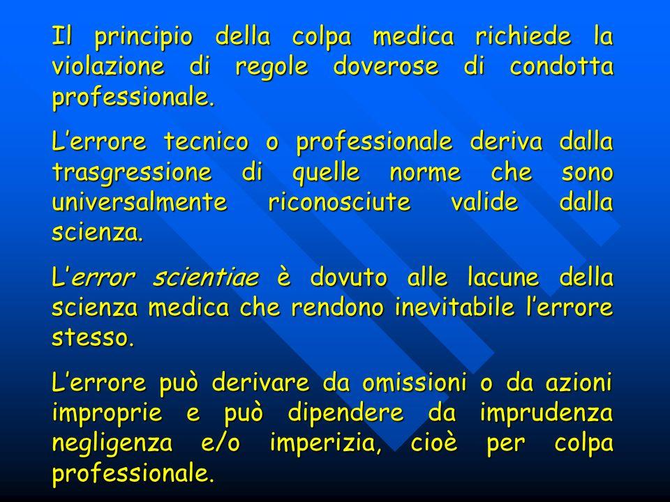 Il principio della colpa medica richiede la violazione di regole doverose di condotta professionale. Lerrore tecnico o professionale deriva dalla tras