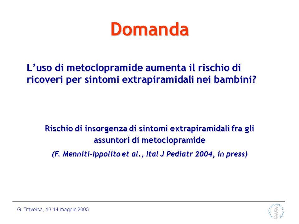 G. Traversa, 13-14 maggio 2005 Esempio di segnalazione spontanea Bambina di 12 mesi, che viene ricoverata tramite pronto soccorso per sintomi extrapir