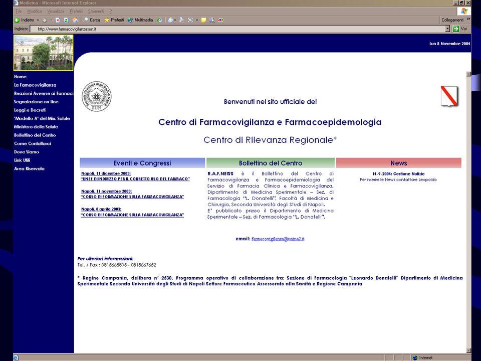 Portale di Farmacovigilanza http://farmacovigilanzasun.unina2.it
