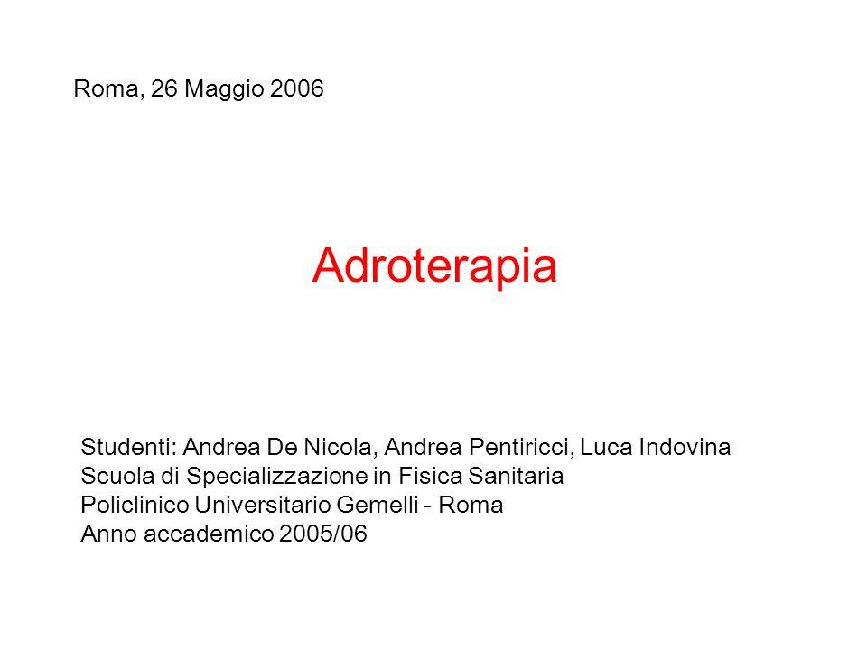 Adroterapia Studenti: Andrea De Nicola, Andrea Pentiricci, Luca Indovina Scuola di Specializzazione in Fisica Sanitaria Policlinico Universitario Geme