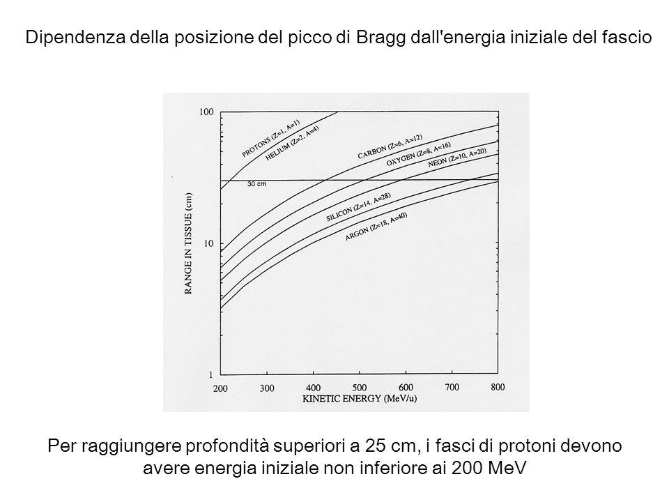 Dipendenza della posizione del picco di Bragg dall'energia iniziale del fascio Per raggiungere profondità superiori a 25 cm, i fasci di protoni devono