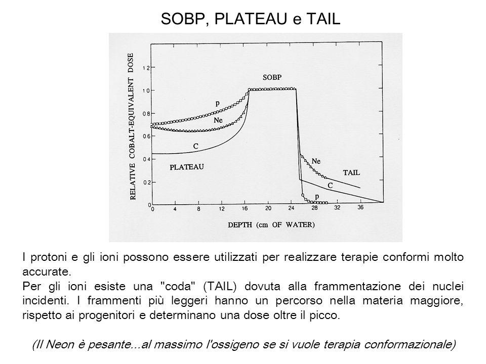 SOBP, PLATEAU e TAIL I protoni e gli ioni possono essere utilizzati per realizzare terapie conformi molto accurate. Per gli ioni esiste una