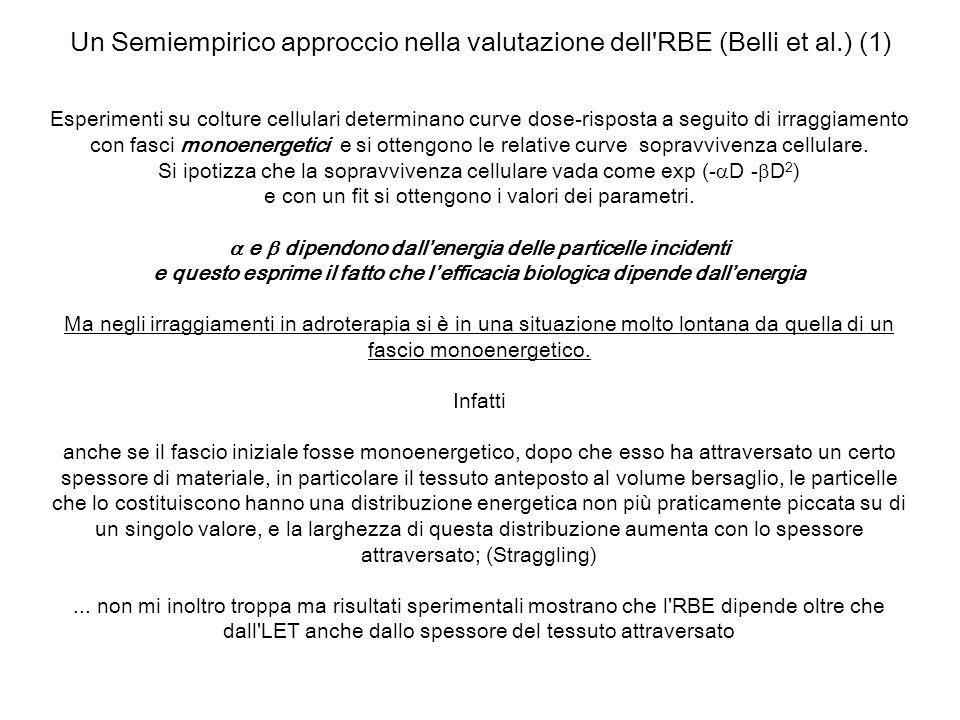 Un Semiempirico approccio nella valutazione dell'RBE (Belli et al.) (1) Esperimenti su colture cellulari determinano curve dose-risposta a seguito di