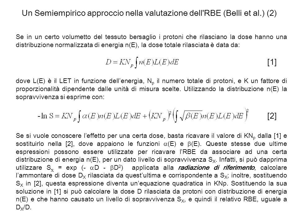 Un Semiempirico approccio nella valutazione dell'RBE (Belli et al.) (2) Se in un certo volumetto del tessuto bersaglio i protoni che rilasciano la dos