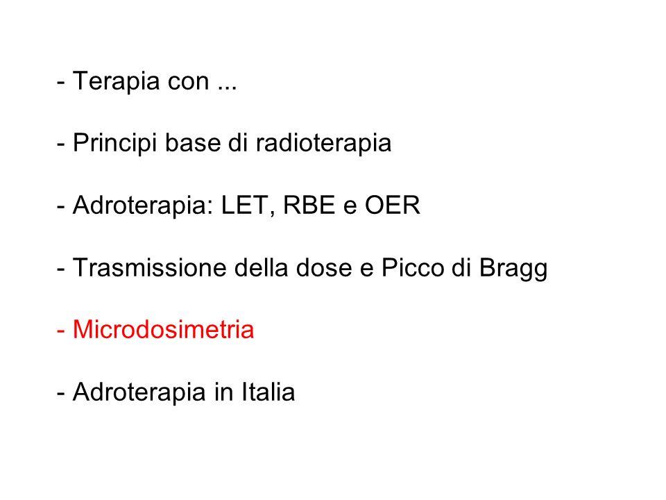 - Terapia con... - Principi base di radioterapia - Adroterapia: LET, RBE e OER - Trasmissione della dose e Picco di Bragg - Microdosimetria - Adrotera
