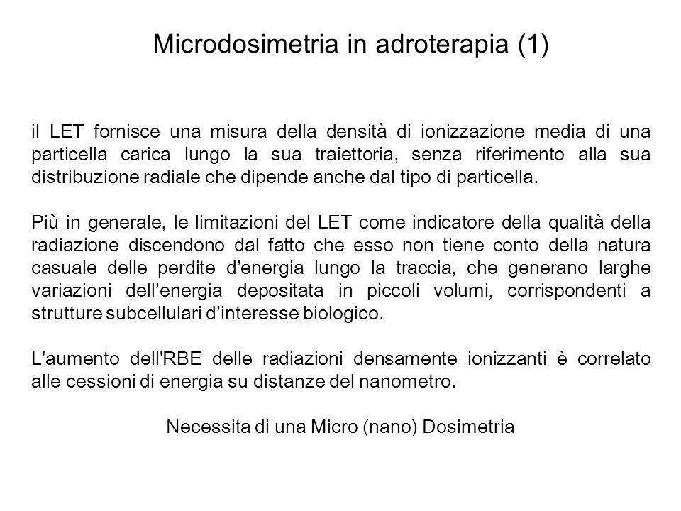 Microdosimetria in adroterapia (1) il LET fornisce una misura della densità di ionizzazione media di una particella carica lungo la sua traiettoria, s