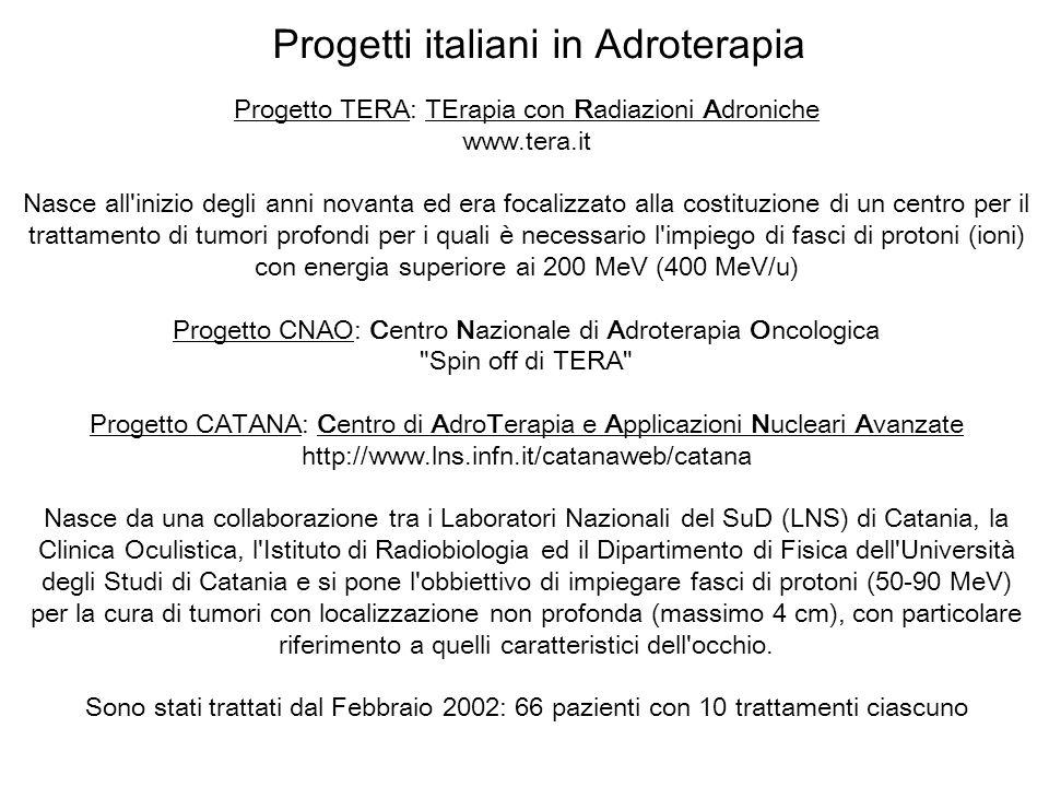 Progetti italiani in Adroterapia Progetto TERA: TErapia con Radiazioni Adroniche www.tera.it Nasce all'inizio degli anni novanta ed era focalizzato al