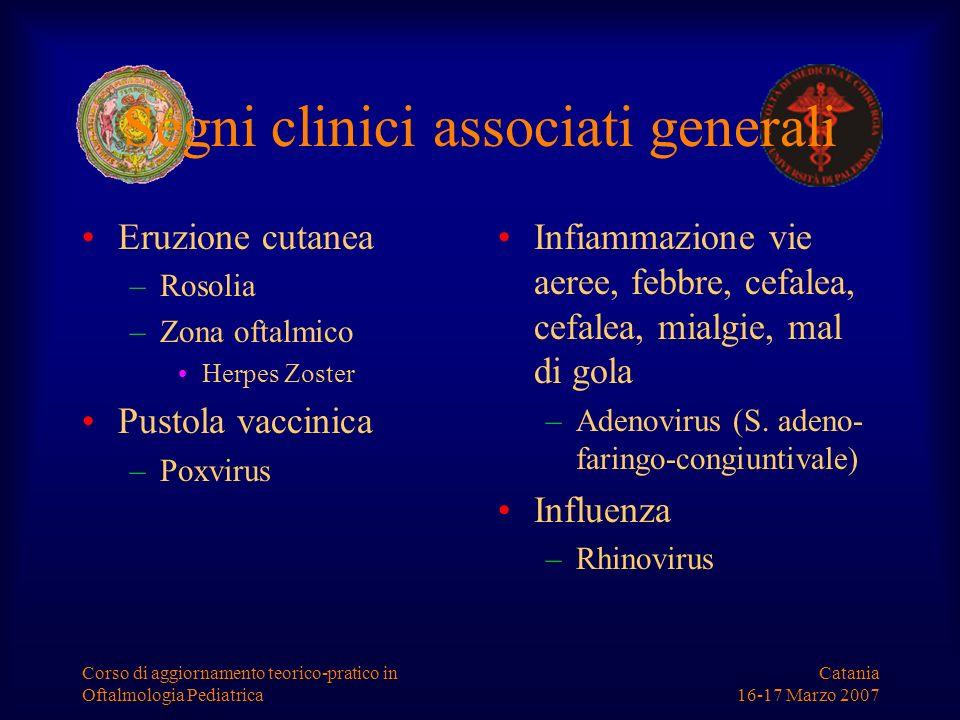 Catania 16-17 Marzo 2007 Corso di aggiornamento teorico-pratico in Oftalmologia Pediatrica Segni clinici associati generali Eruzione cutanea –Rosolia