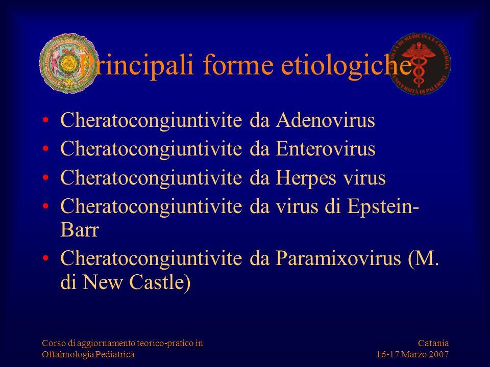 Catania 16-17 Marzo 2007 Corso di aggiornamento teorico-pratico in Oftalmologia Pediatrica Principali forme etiologiche Cheratocongiuntivite da Adenov