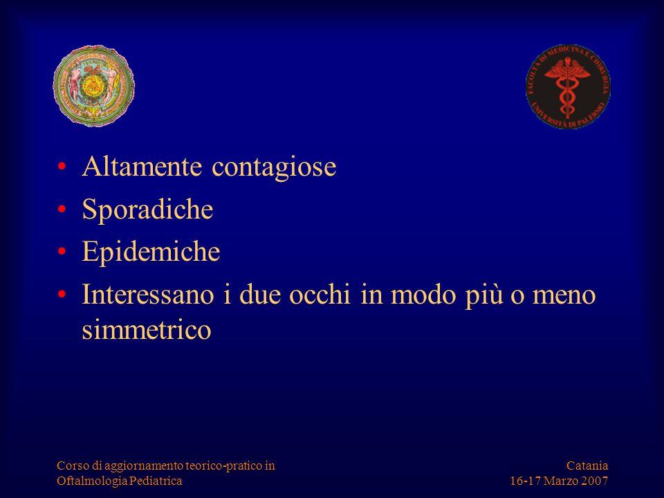 Catania 16-17 Marzo 2007 Corso di aggiornamento teorico-pratico in Oftalmologia Pediatrica Quadro clinico Semplice iperemia congiuntivale Frequentemente follicolari per ipertrofia ed iperplasia dei noduli linfoidi sottoepiteliali Chemosi congiuntivale Edema palpebrale Adenopatia pre-tragica