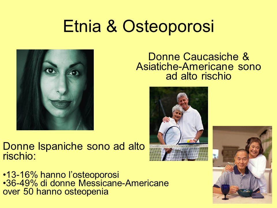 Etnia & Osteoporosi Donne Ispaniche sono ad alto rischio: 13-16% hanno losteoporosi 36-49% di donne Messicane-Americane over 50 hanno osteopenia Donne