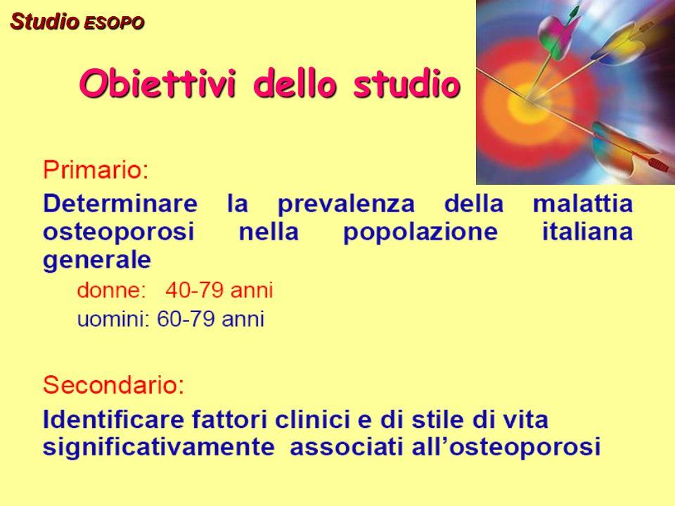 Obiettivi dello studio Studio ESOPO