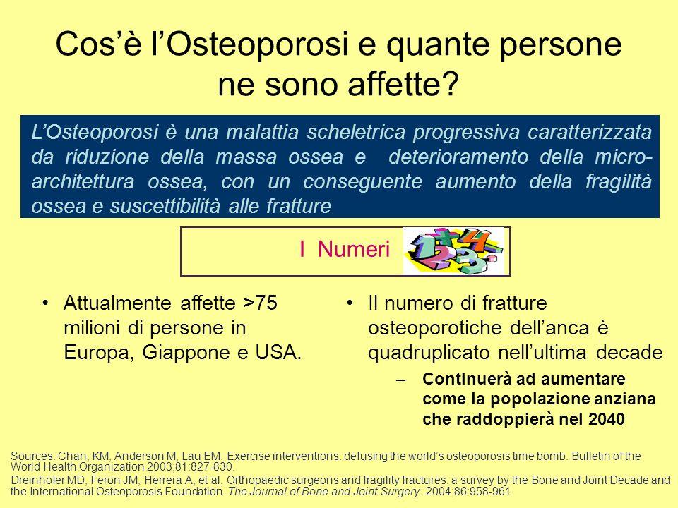 Cosè lOsteoporosi e quante persone ne sono affette? LOsteoporosi è una malattia scheletrica progressiva caratterizzata da riduzione della massa ossea