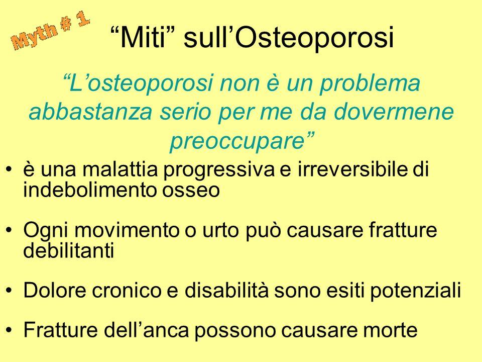 Losteoporosi non è un problema abbastanza serio per me da dovermene preoccupare è una malattia progressiva e irreversibile di indebolimento osseo Ogni