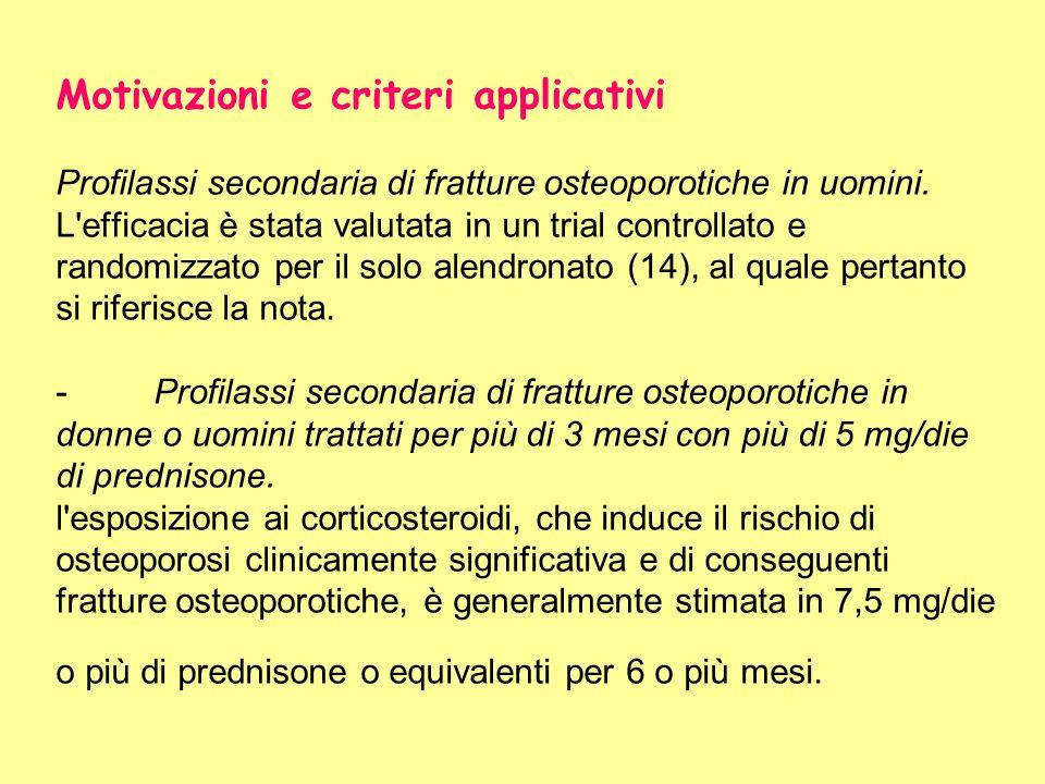Motivazioni e criteri applicativi Profilassi secondaria di fratture osteoporotiche in uomini. L'efficacia è stata valutata in un trial controllato e r