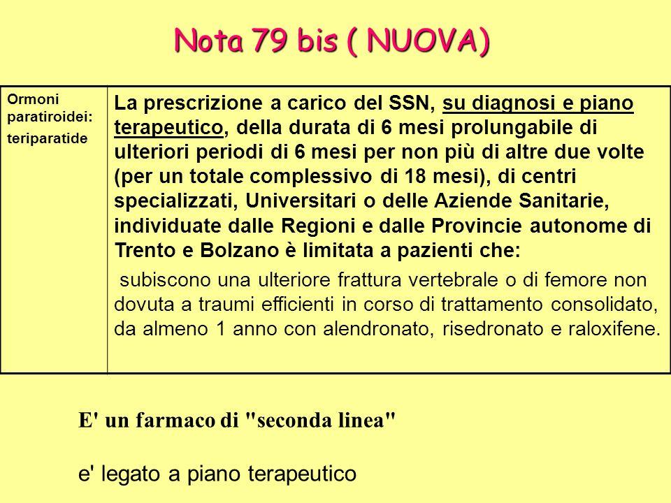 Nota 79 bis ( NUOVA) Ormoni paratiroidei: teriparatide La prescrizione a carico del SSN, su diagnosi e piano terapeutico, della durata di 6 mesi prolu