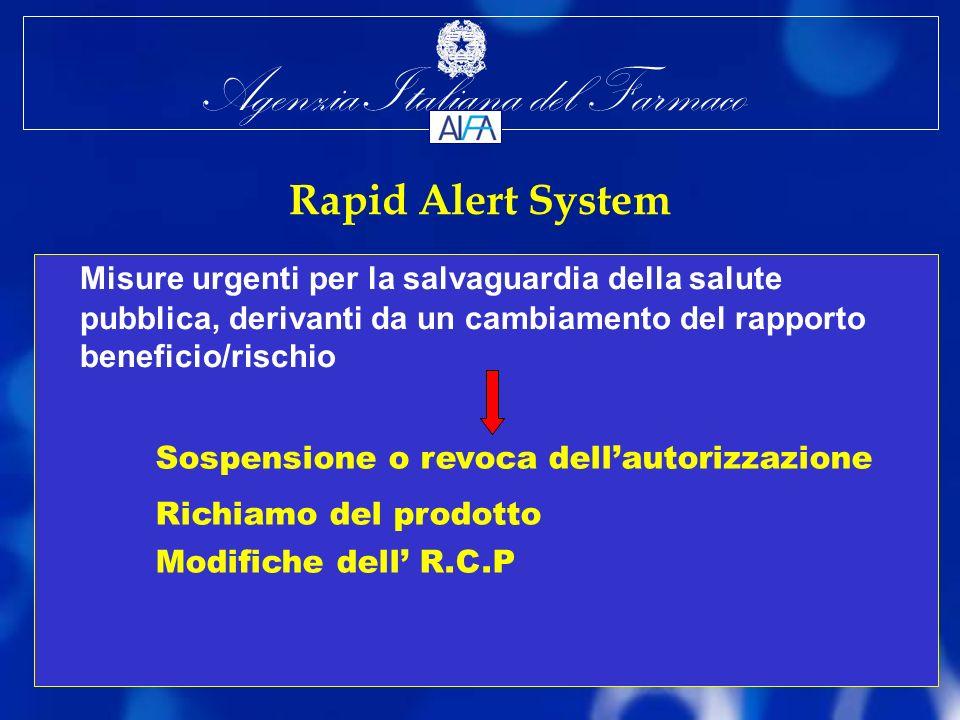 Agenzia Italiana del Farmaco Rapid Alert System Misure urgenti per la salvaguardia della salute pubblica, derivanti da un cambiamento del rapporto beneficio/rischio Sospensione o revoca dellautorizzazione Richiamo del prodotto Modifiche dell R.C.P