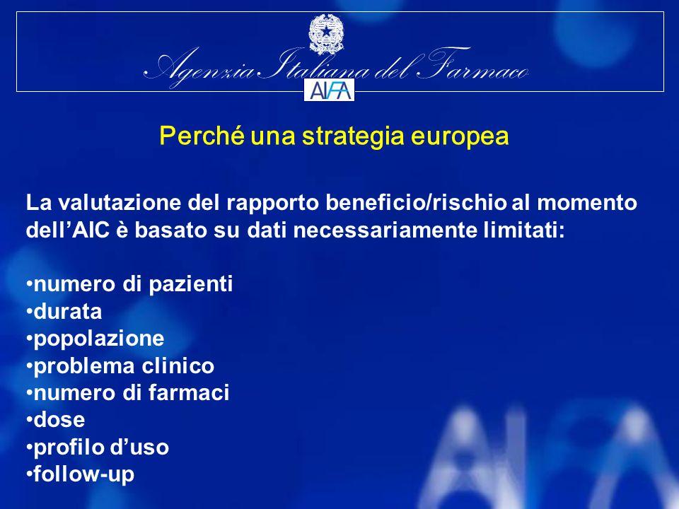 Agenzia Italiana del Farmaco La valutazione del rapporto beneficio/rischio al momento dellAIC è basato su dati necessariamente limitati: numero di pazienti durata popolazione problema clinico numero di farmaci dose profilo duso follow-up Perché una strategia europea