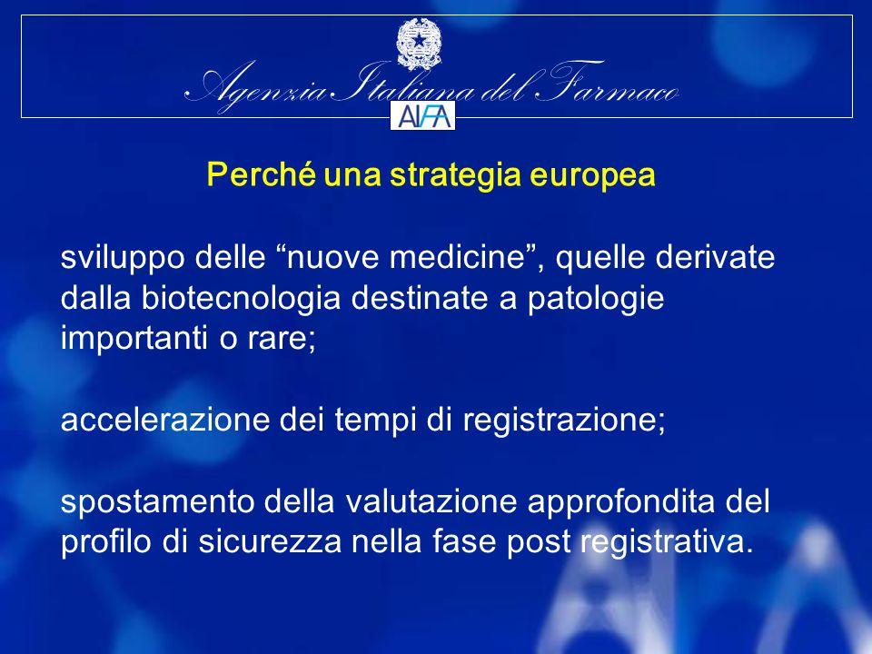 Agenzia Italiana del Farmaco sviluppo delle nuove medicine, quelle derivate dalla biotecnologia destinate a patologie importanti o rare; accelerazione dei tempi di registrazione; spostamento della valutazione approfondita del profilo di sicurezza nella fase post registrativa.