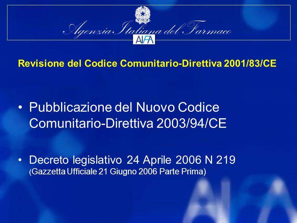 Agenzia Italiana del Farmaco Revisione del Codice Comunitario-Direttiva 2001/83/CE Pubblicazione del Nuovo Codice Comunitario-Direttiva 2003/94/CE Decreto legislativo 24 Aprile 2006 N 219 ( Gazzetta Ufficiale 21 Giugno 2006 Parte Prima)
