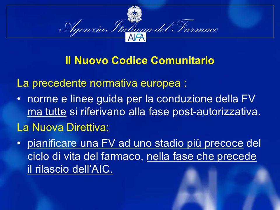 Agenzia Italiana del Farmaco Il Nuovo Codice Comunitario La precedente normativa europea : norme e linee guida per la conduzione della FV ma tutte si riferivano alla fase post-autorizzativa.