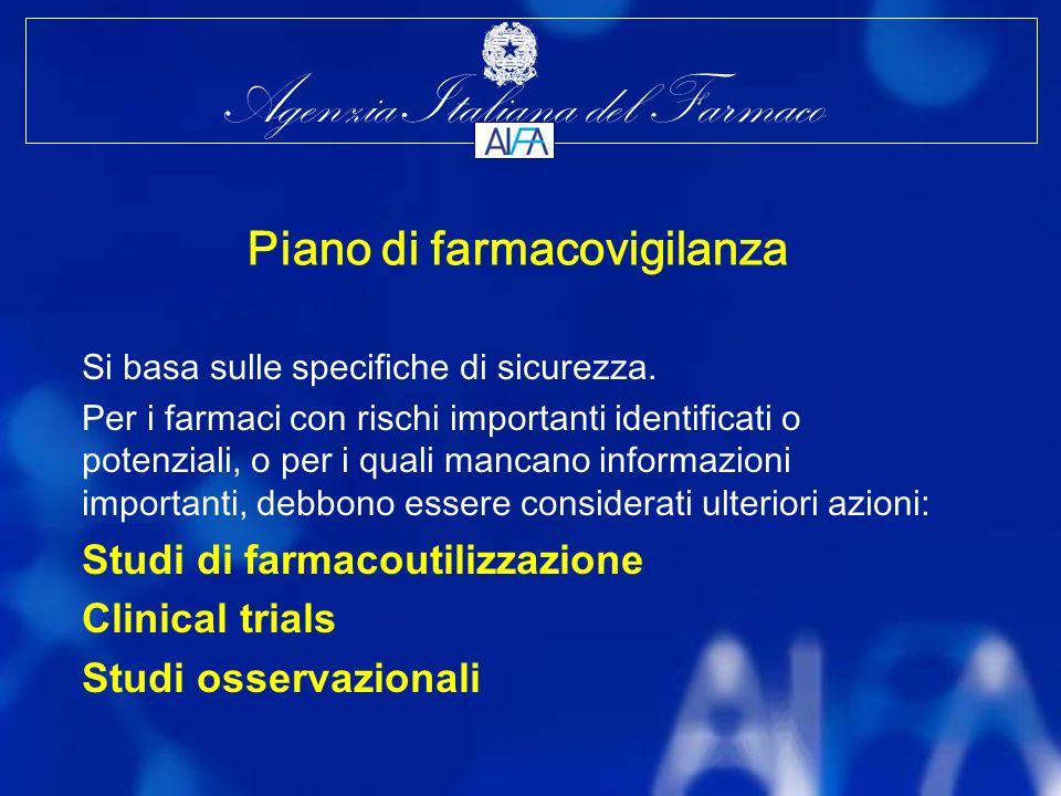 Agenzia Italiana del Farmaco Piano di farmacovigilanza Si basa sulle specifiche di sicurezza.
