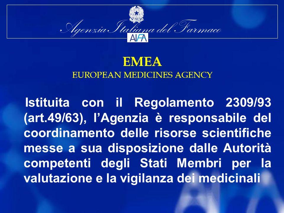 Agenzia Italiana del Farmaco EMEA EUROPEAN MEDICINES AGENCY Istituita con il Regolamento 2309/93 (art.49/63), lAgenzia è responsabile del coordinamento delle risorse scientifiche messe a sua disposizione dalle Autorità competenti degli Stati Membri per la valutazione e la vigilanza dei medicinali
