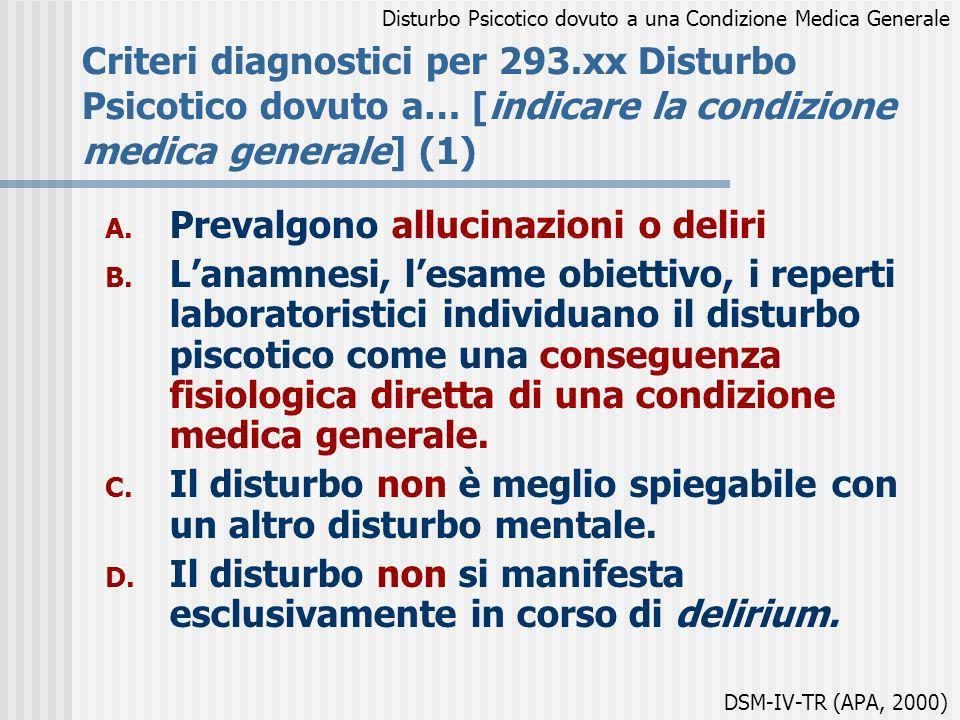 Criteri diagnostici per 293.xx Disturbo Psicotico dovuto a… [indicare la condizione medica generale] (1) A. Prevalgono allucinazioni o deliri B. Lanam