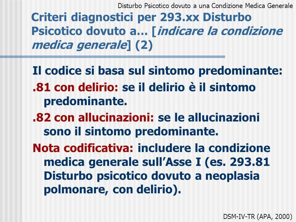 Criteri diagnostici per 293.xx Disturbo Psicotico dovuto a… [indicare la condizione medica generale] (2) Il codice si basa sul sintomo predominante:.8