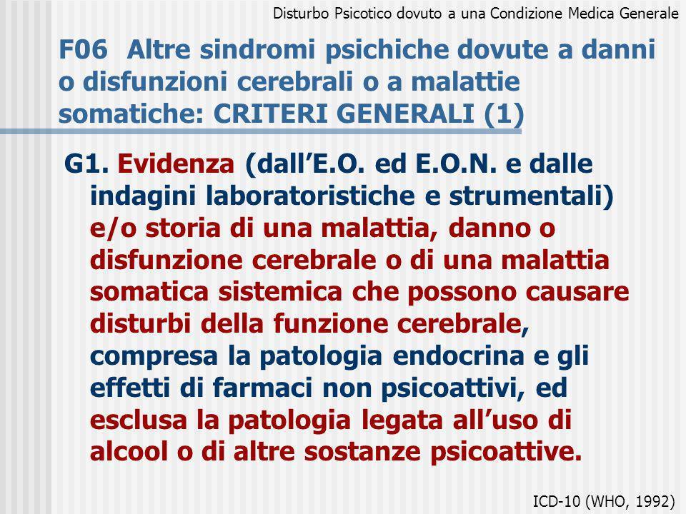 F06Altre sindromi psichiche dovute a danni o disfunzioni cerebrali o a malattie somatiche: CRITERI GENERALI (1) G1. Evidenza (dallE.O. ed E.O.N. e dal