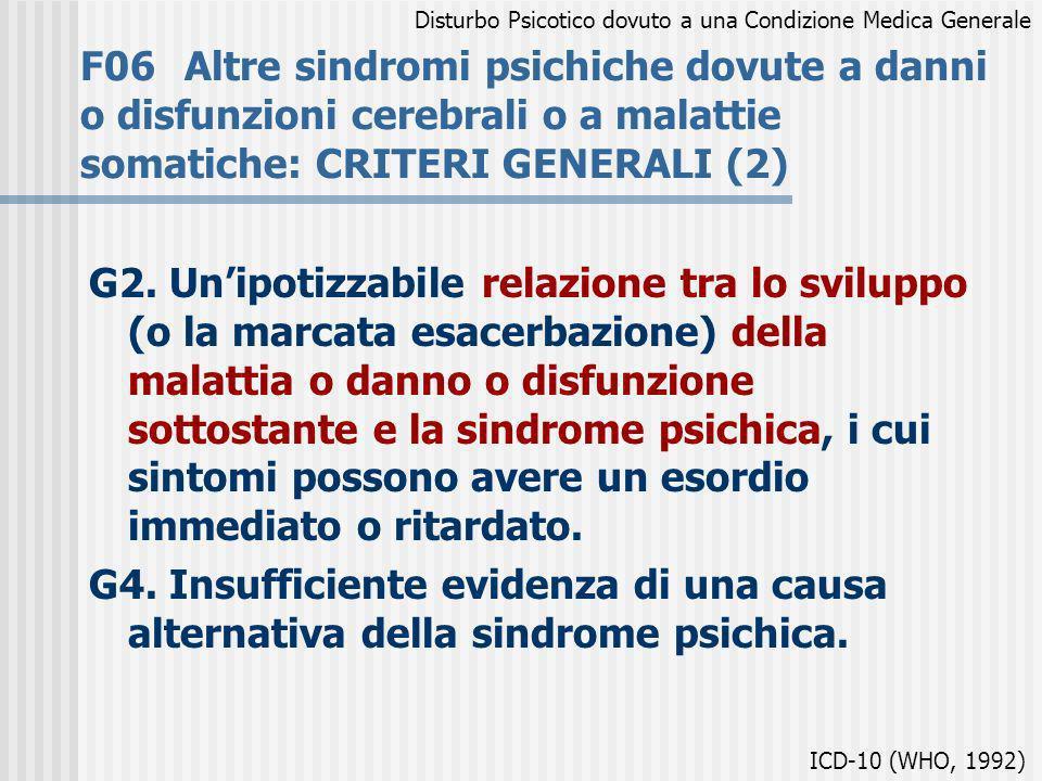 F06Altre sindromi psichiche dovute a danni o disfunzioni cerebrali o a malattie somatiche: CRITERI GENERALI (2) G2. Unipotizzabile relazione tra lo sv