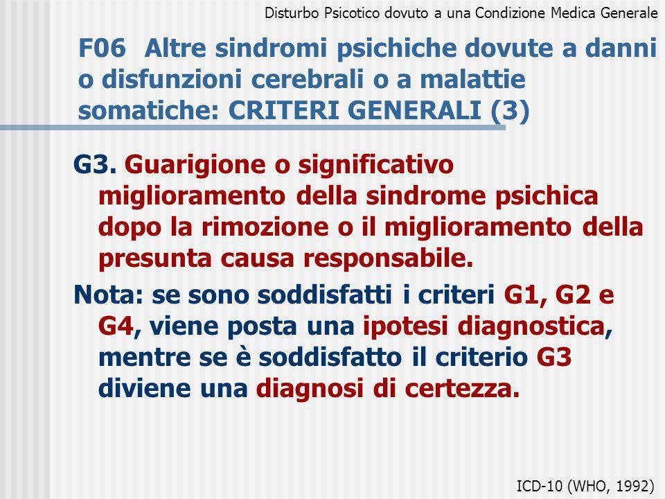 F06Altre sindromi psichiche dovute a danni o disfunzioni cerebrali o a malattie somatiche: CRITERI GENERALI (3) G3. Guarigione o significativo miglior