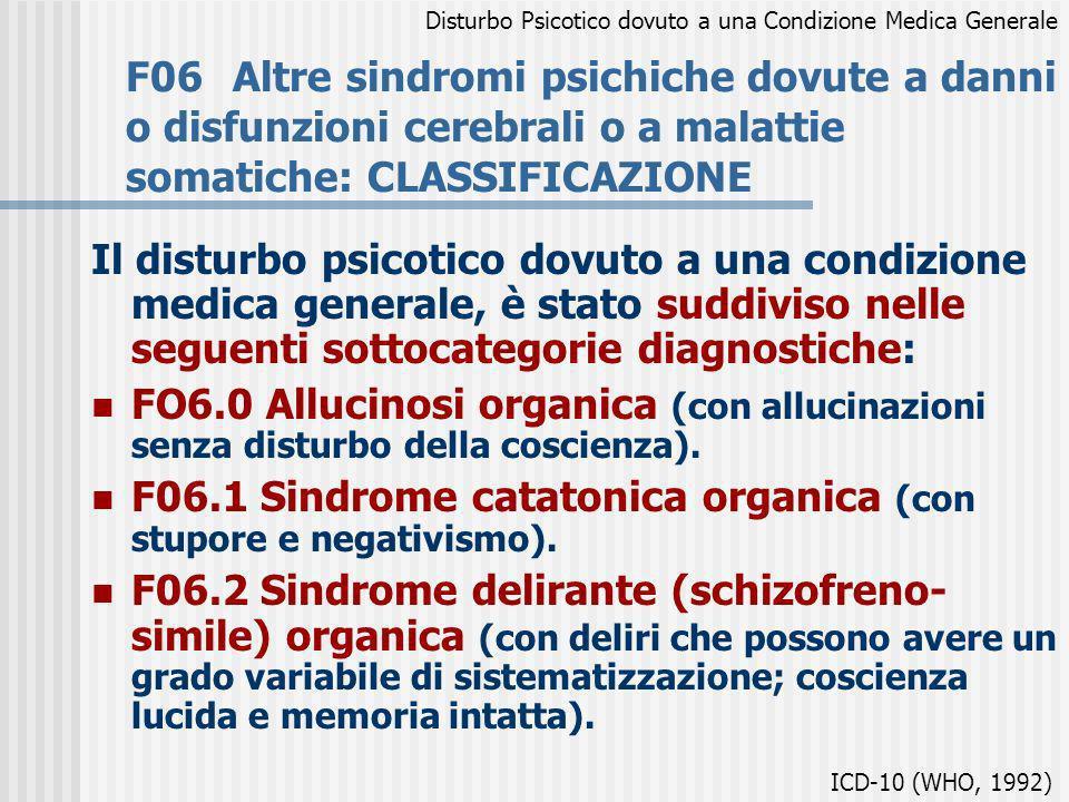 F06Altre sindromi psichiche dovute a danni o disfunzioni cerebrali o a malattie somatiche: CLASSIFICAZIONE Il disturbo psicotico dovuto a una condizio