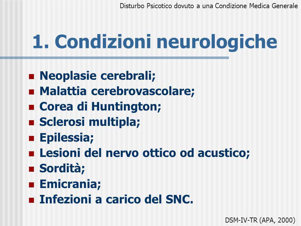 1. Condizioni neurologiche Neoplasie cerebrali; Malattia cerebrovascolare; Corea di Huntington; Sclerosi multipla; Epilessia; Lesioni del nervo ottico