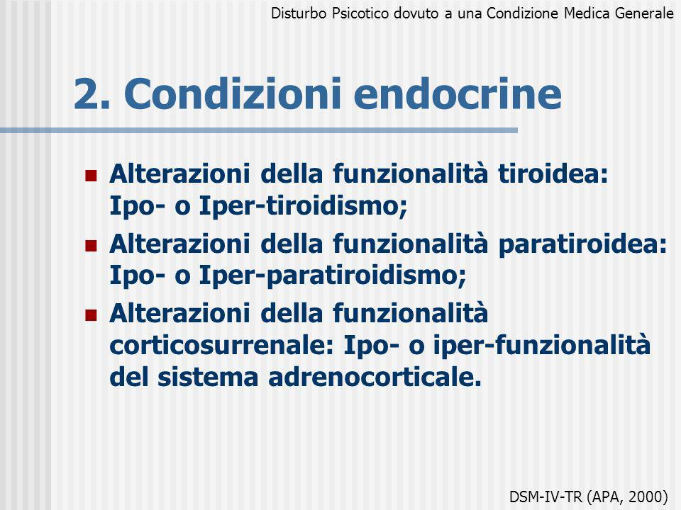 2. Condizioni endocrine Alterazioni della funzionalità tiroidea: Ipo- o Iper-tiroidismo; Alterazioni della funzionalità paratiroidea: Ipo- o Iper-para