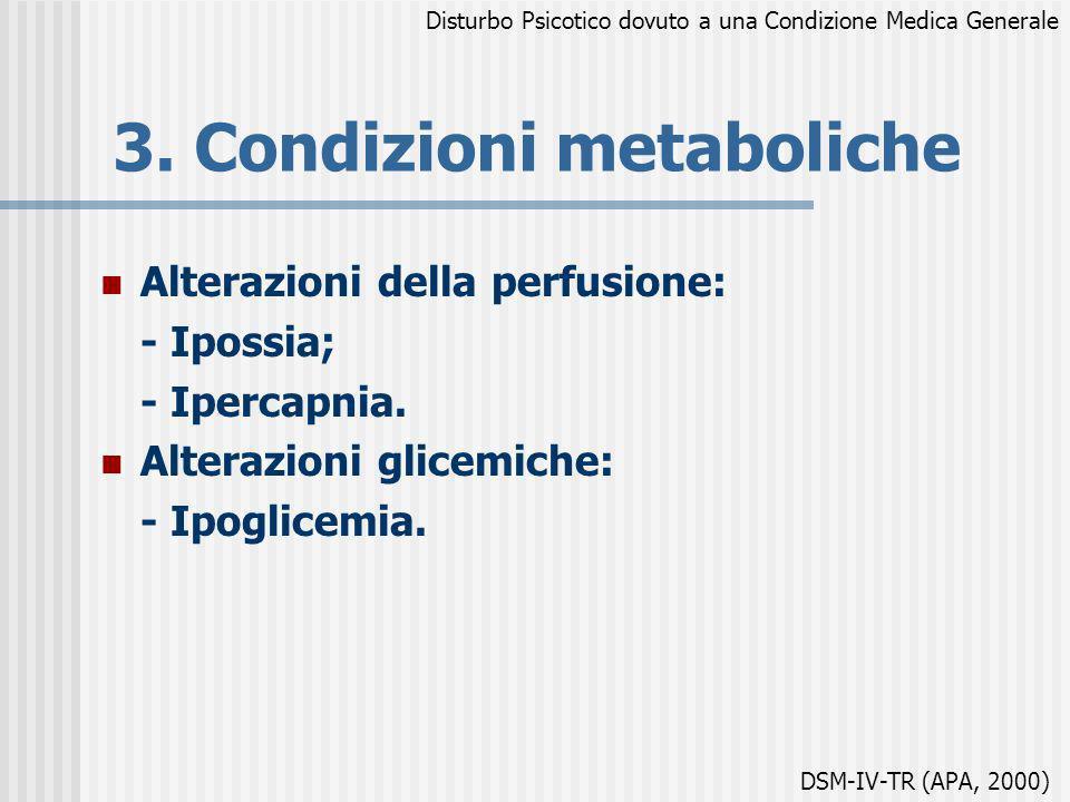 3. Condizioni metaboliche Alterazioni della perfusione: - Ipossia; - Ipercapnia. Alterazioni glicemiche: - Ipoglicemia. Disturbo Psicotico dovuto a un