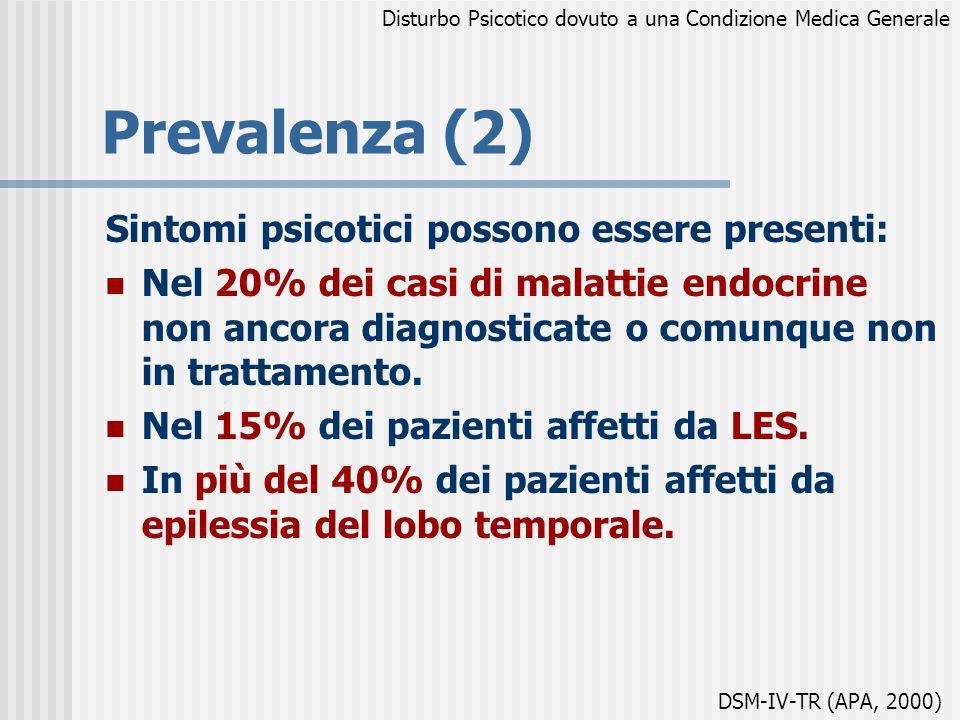 Prevalenza (2) Sintomi psicotici possono essere presenti: Nel 20% dei casi di malattie endocrine non ancora diagnosticate o comunque non in trattament