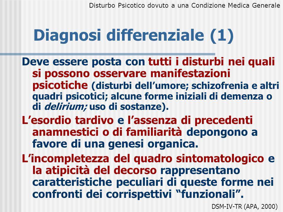 Diagnosi differenziale (1) Deve essere posta con tutti i disturbi nei quali si possono osservare manifestazioni psicotiche (disturbi dellumore; schizo