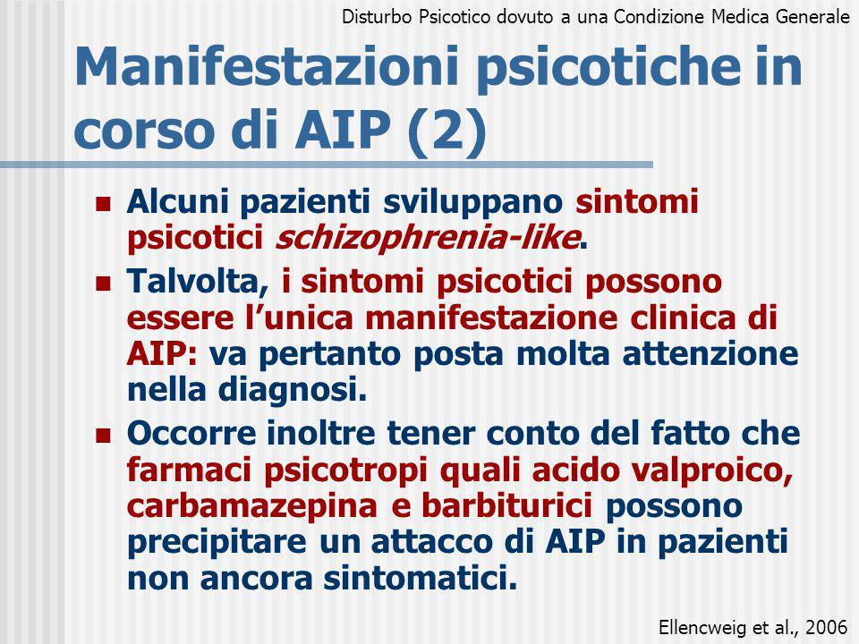 Manifestazioni psicotiche in corso di AIP (2) Alcuni pazienti sviluppano sintomi psicotici schizophrenia-like. Talvolta, i sintomi psicotici possono e
