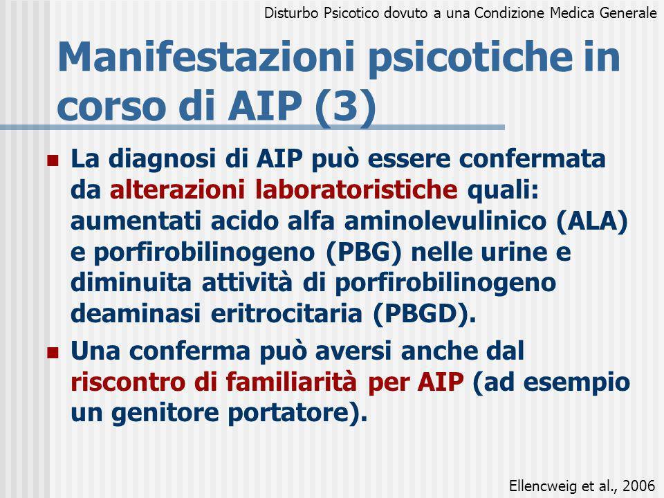La diagnosi di AIP può essere confermata da alterazioni laboratoristiche quali: aumentati acido alfa aminolevulinico (ALA) e porfirobilinogeno (PBG) n