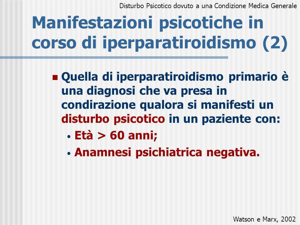 Manifestazioni psicotiche in corso di iperparatiroidismo (2) Quella di iperparatiroidismo primario è una diagnosi che va presa in condirazione qualora