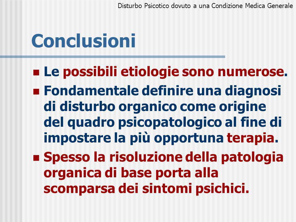 Conclusioni Le possibili etiologie sono numerose. Fondamentale definire una diagnosi di disturbo organico come origine del quadro psicopatologico al f