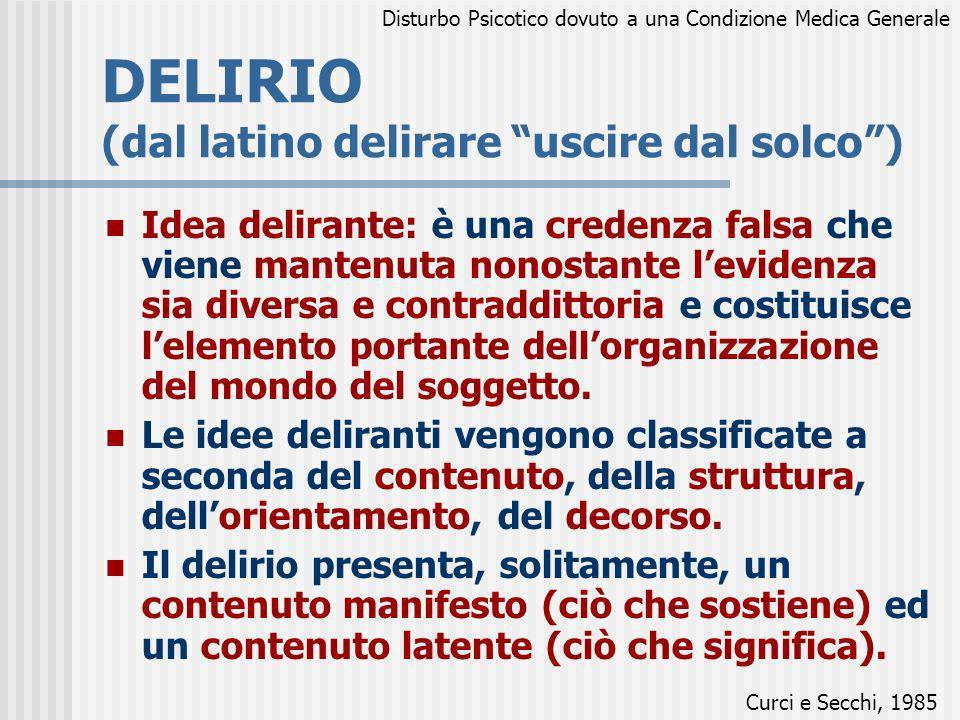DELIRIO (dal latino delirare uscire dal solco) Idea delirante: è una credenza falsa che viene mantenuta nonostante levidenza sia diversa e contradditt