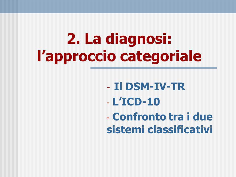 2. La diagnosi: lapproccio categoriale - Il DSM-IV-TR - LICD-10 - Confronto tra i due sistemi classificativi