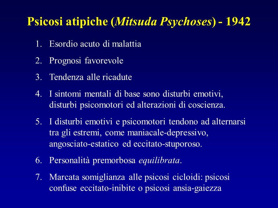 Psicosi atipiche (Mitsuda Psychoses) - 1942 1.Esordio acuto di malattia 2.Prognosi favorevole 3.Tendenza alle ricadute 4.I sintomi mentali di base sono disturbi emotivi, disturbi psicomotori ed alterazioni di coscienza.