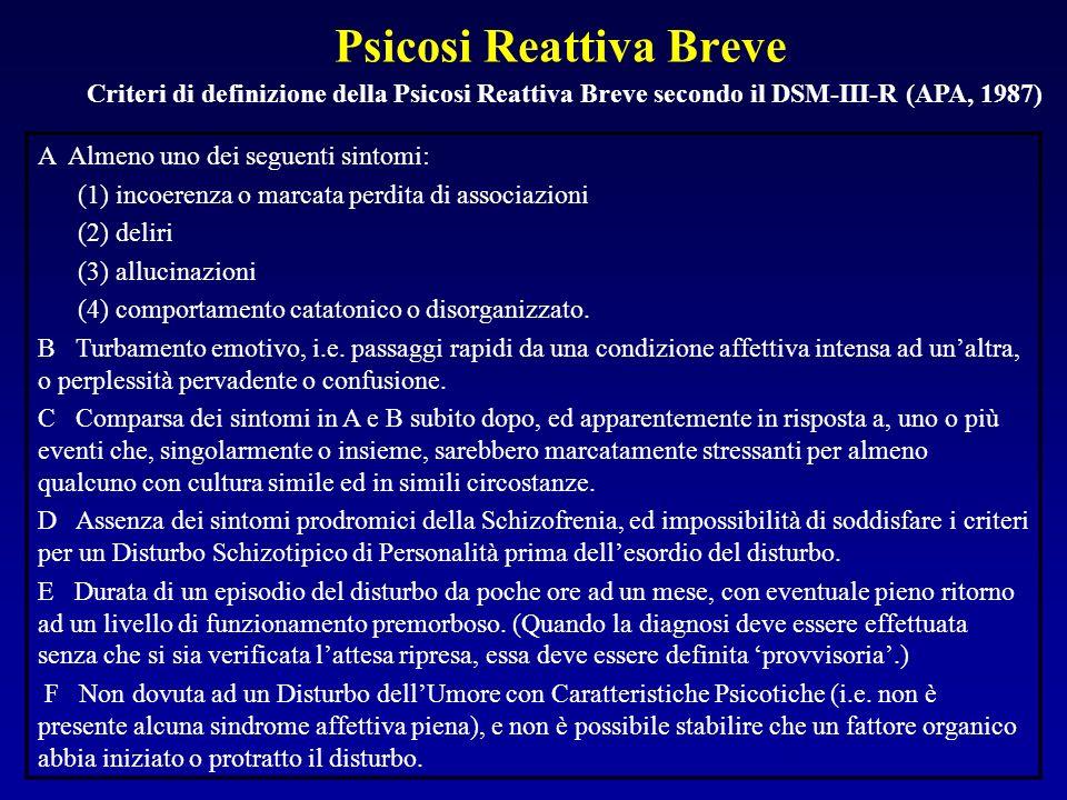 Psicosi Reattiva Breve Criteri di definizione della Psicosi Reattiva Breve secondo il DSM-III-R (APA, 1987) A Almeno uno dei seguenti sintomi: (1) incoerenza o marcata perdita di associazioni (2) deliri (3) allucinazioni (4) comportamento catatonico o disorganizzato.