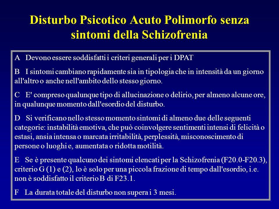 Disturbo Psicotico Acuto Polimorfo senza sintomi della Schizofrenia A Devono essere soddisfatti i criteri generali per i DPAT B I sintomi cambiano rapidamente sia in tipologia che in intensità da un giorno all altro o anche nell ambito dello stesso giorno.