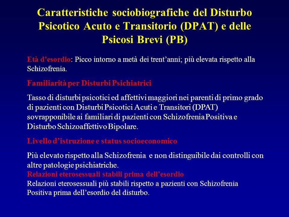 Caratteristiche sociobiografiche del Disturbo Psicotico Acuto e Transitorio (DPAT) e delle Psicosi Brevi (PB) Età desordio: Picco intorno a metà dei trentanni; più elevata rispetto alla Schizofrenia.