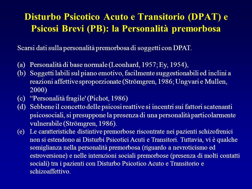 Disturbo Psicotico Acuto e Transitorio (DPAT) e Psicosi Brevi (PB): la Personalità premorbosa Scarsi dati sulla personalità premorbosa di soggetti con DPAT.